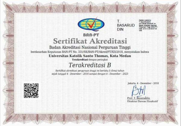 sertifikat akreditasi unika santo thomas